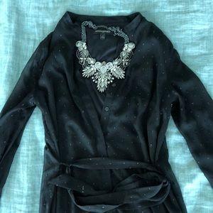 Sheer Black Button Down Tie Dress